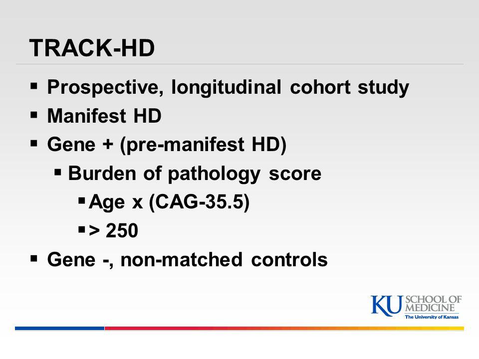 TRACK-HD  Prospective, longitudinal cohort study  Manifest HD  Gene + (pre-manifest HD)  Burden of pathology score  Age x (CAG-35.5)  > 250  Gene -, non-matched controls