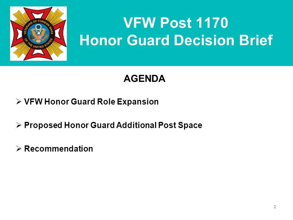 VFW Post 1170 Honor Guard Decision Brief AGENDA  VFW Honor Guard Role Expansion  Proposed Honor Guard Additional Post Space  Recommendation 2