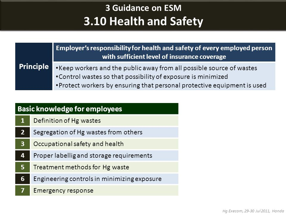 3 Guidance on ESM 3.10 Health and Safety 3 Guidance on ESM 3.10 Health and Safety Hg Execom, 29-30 Jul 2011, Honda Principle Employer's responsibility for health and safety of every employed person with sufficient level of insurance coverage Keep workers and the public away from all possible source of wastes Control wastes so that possibility of exposure is minimized Protect workers by ensuring that personal protective equipment is used Basic knowledge for employees 1Definition of Hg wastes 2Segregation of Hg wastes from others 3Occupational safety and health 4Proper labellig and storage requirements 5Treatment methods for Hg waste 6Engineering controls in minimizing exposure 7Emergency response