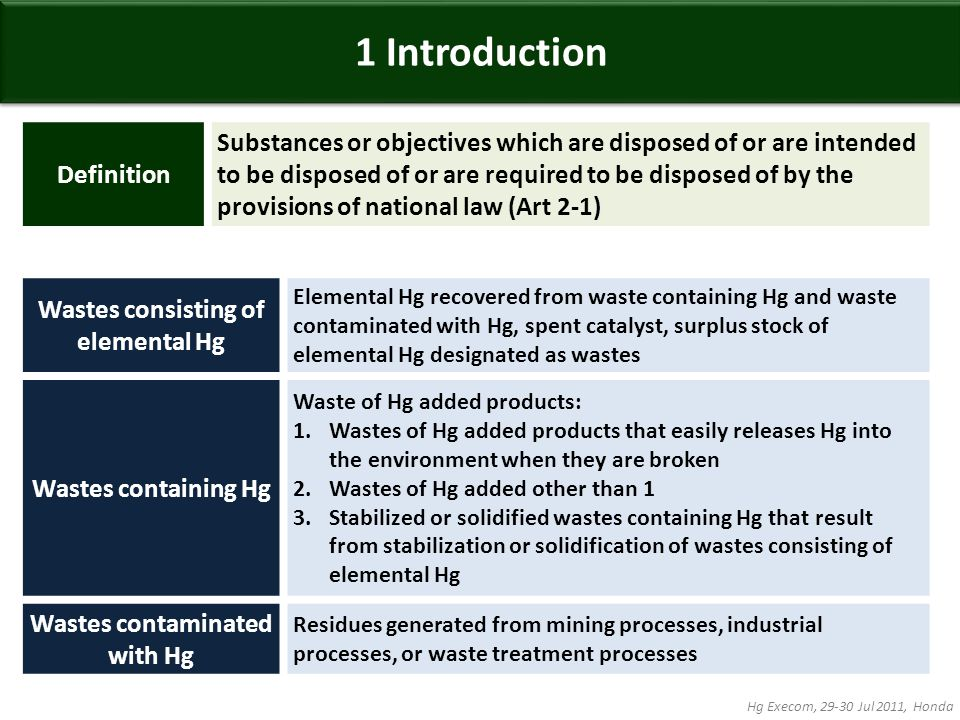 Definition Substances or objectives which are disposed of or are intended to be disposed of or are required to be disposed of by the provisions of national law (Art 2-1) Wastes consisting of elemental Hg Elemental Hg recovered from waste containing Hg and waste contaminated with Hg, spent catalyst, surplus stock of elemental Hg designated as wastes Wastes containing Hg Waste of Hg added products: 1.Wastes of Hg added products that easily releases Hg into the environment when they are broken 2.Wastes of Hg added other than 1 3.Stabilized or solidified wastes containing Hg that result from stabilization or solidification of wastes consisting of elemental Hg Wastes contaminated with Hg Residues generated from mining processes, industrial processes, or waste treatment processes 1 Introduction Hg Execom, 29-30 Jul 2011, Honda