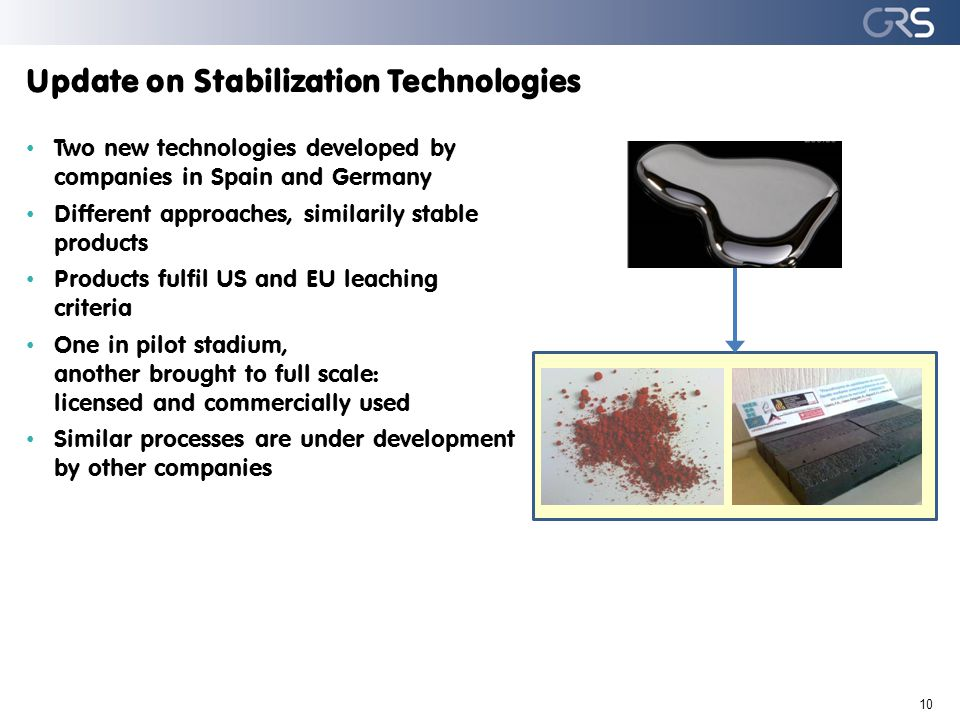 Update on Stabilization Technologies Two new technologies developed by companies in Spain and Germany Different approaches, similarily stable products Products fulfil US and EU leaching criteria One in pilot stadium, another brought to full scale: licensed and commercially used Similar processes are under development by other companies 10