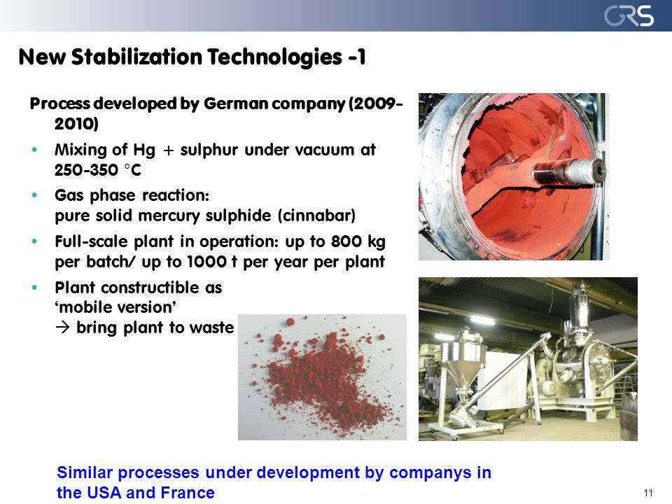 New Stabilization Technologies -1 11 Process developed by German company (2009- 2010) Mixing of Hg + sulphur under vacuum at 250-350 °C Gas phase reac