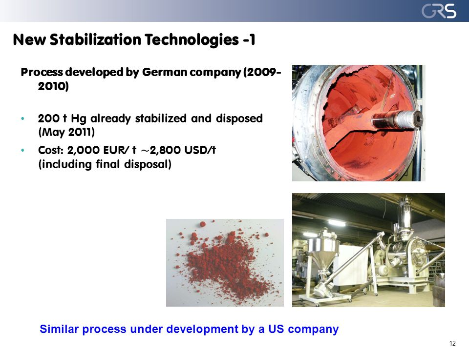 New Stabilization Technologies -1 12 Process developed by German company (2009- 2010) 200 t Hg already stabilized and disposed (May 2011) Cost: 2,000 EUR/ t ~2,800 USD/t (including final disposal) Similar process under development by a US company