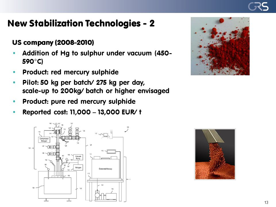 New Stabilization Technologies - 2 13 US company (2008-2010) Addition of Hg to sulphur under vacuum (450- 590°C) Product: red mercury sulphide Pilot: 50 kg per batch/ 275 kg per day, scale-up to 200kg/ batch or higher envisaged Product: pure red mercury sulphide Reported cost: 11,000 – 13,000 EUR/ t