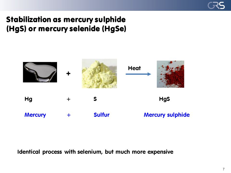 Stabilization as mercury sulphide (HgS) or mercury selenide (HgSe) 7 Hg + S HgS Mercury +Sulfur Mercury sulphide Identical process with selenium, but much more expensive + Heat