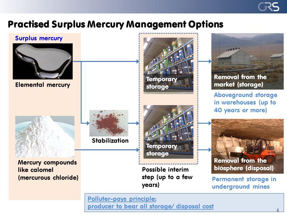 Management Options for Mercury Wastes 7 Waste contaminated with mercury (e.g.