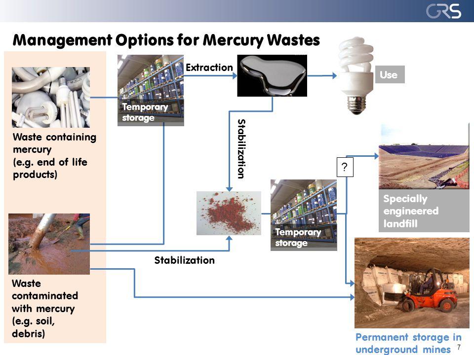 8 Surplus mercury Elemental Hg Specially engineered landfills Deep well injection Underground storage (final disposal) of elem.