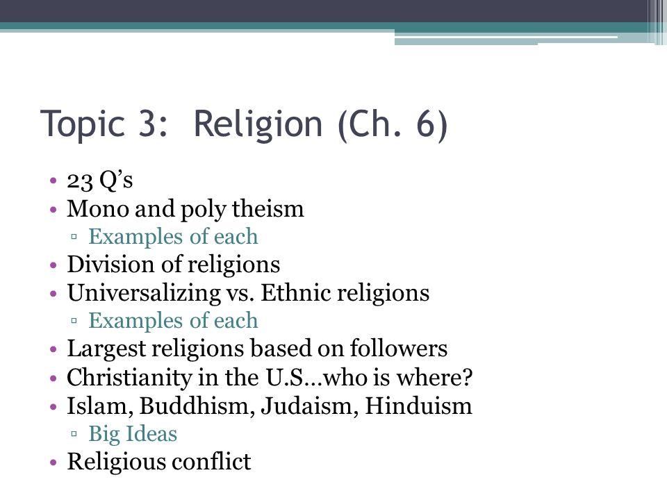 Topic 3: Religion (Ch.