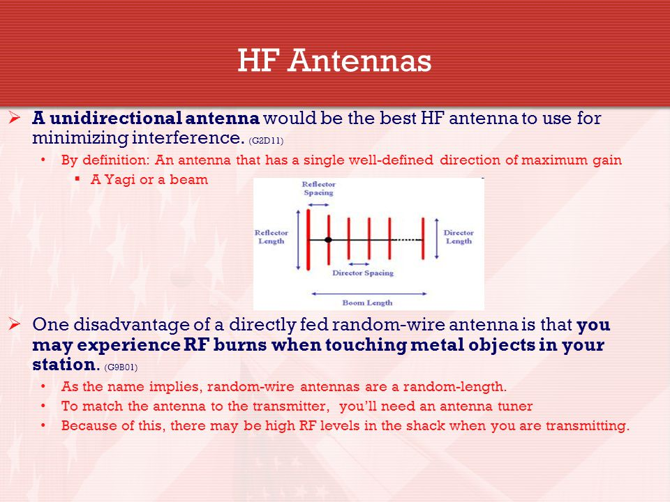 HF Antennas  A unidirectional antenna would be the best HF antenna to use for minimizing interference. (G2D11) By definition: An antenna that has a s