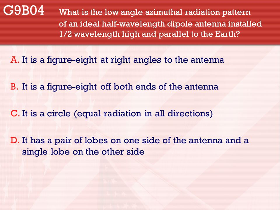 G9B04 What is the low angle azimuthal radiation pattern of an ideal half-wavelength dipole antenna installed 1/2 wavelength high and parallel to the E