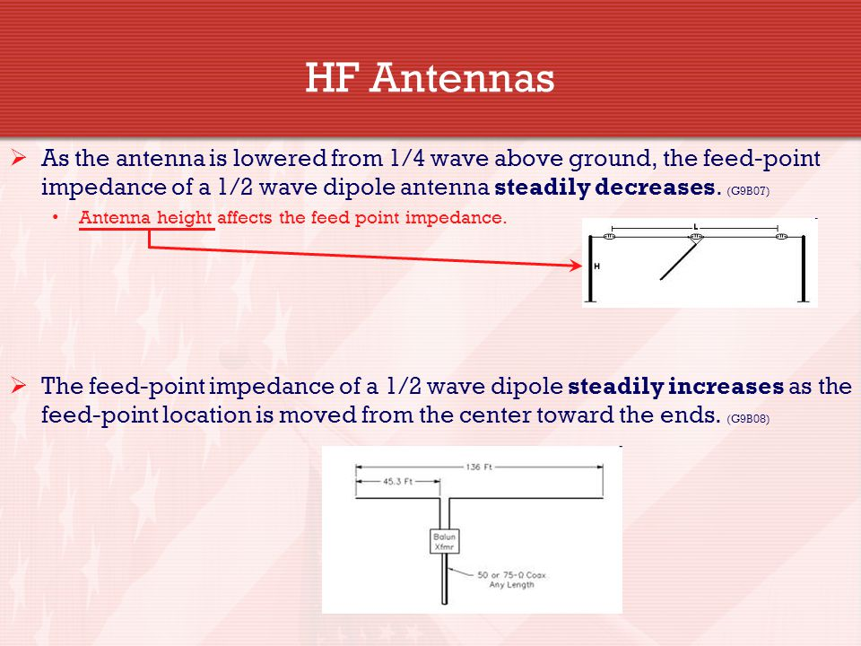 HF Antennas  As the antenna is lowered from 1/4 wave above ground, the feed-point impedance of a 1/2 wave dipole antenna steadily decreases. (G9B07)
