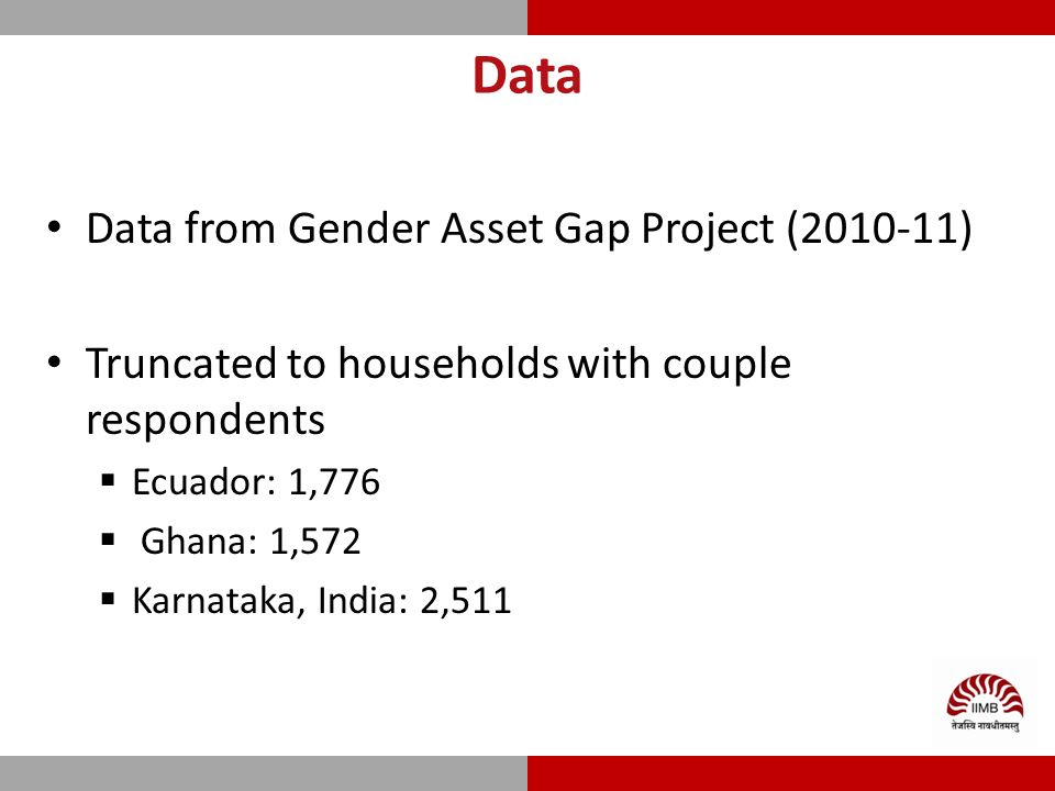Data Data from Gender Asset Gap Project (2010-11) Truncated to households with couple respondents  Ecuador: 1,776  Ghana: 1,572  Karnataka, India: 2,511