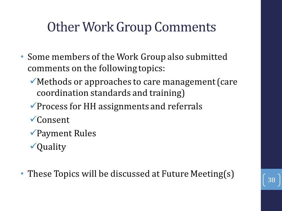 Other Work Group Comments Some members of the Work Group also submitted comments on the following topics: Methods or approaches to care management (ca