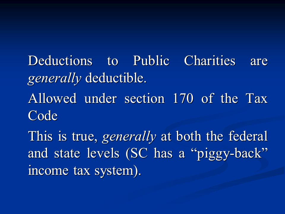 Deductions to Public Charities are generally deductible.
