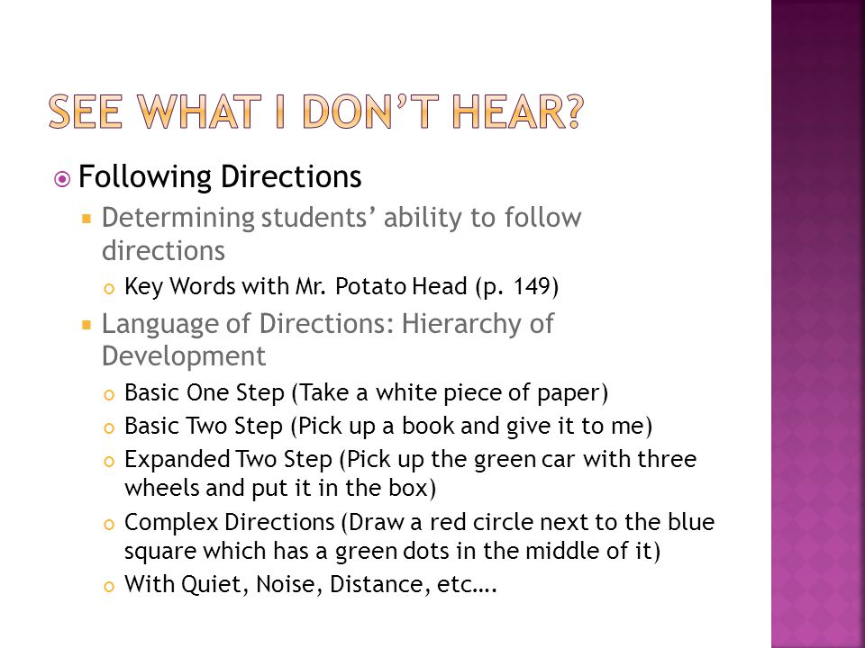  Following Directions  Determining students' ability to follow directions Key Words with Mr.