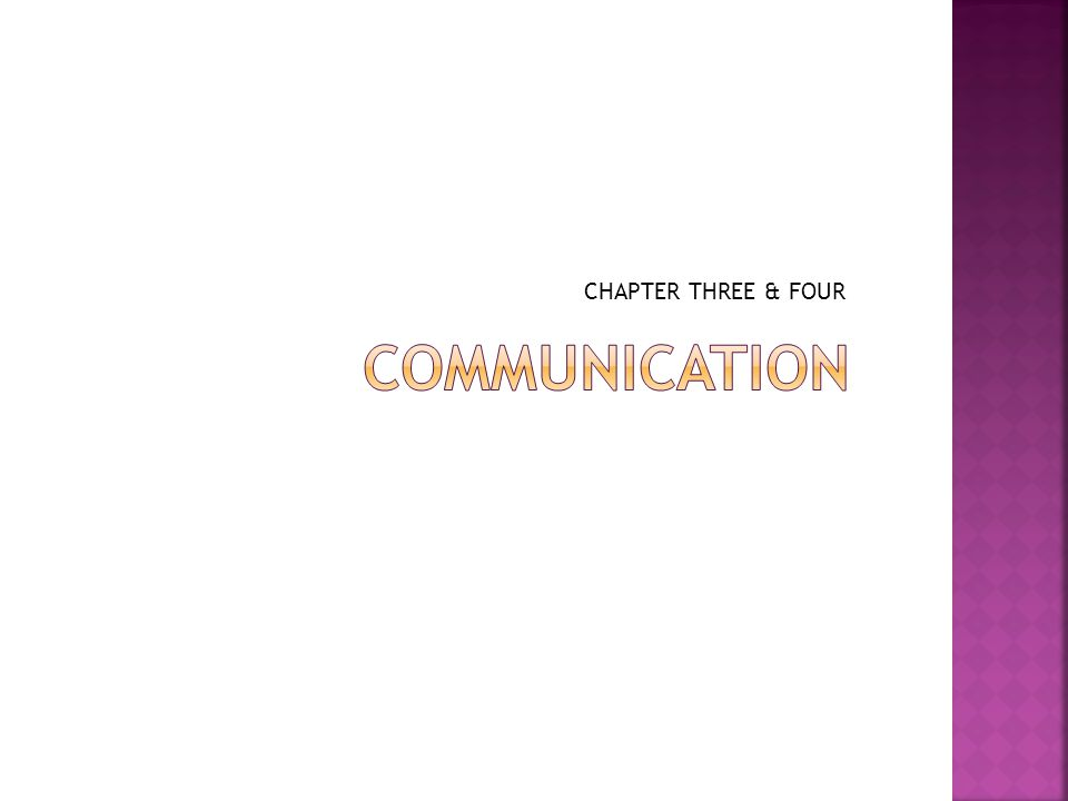 CHAPTER THREE & FOUR