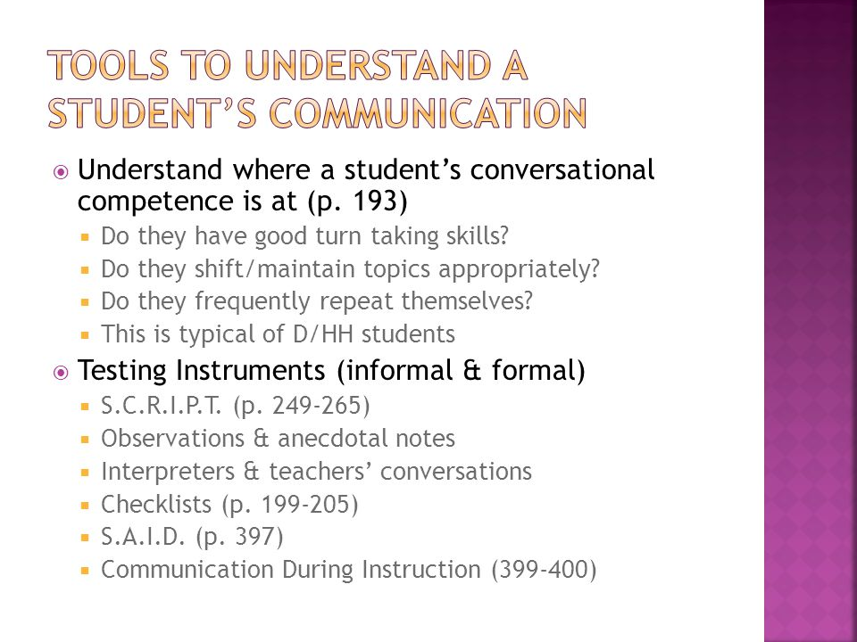  Understand where a student's conversational competence is at (p.