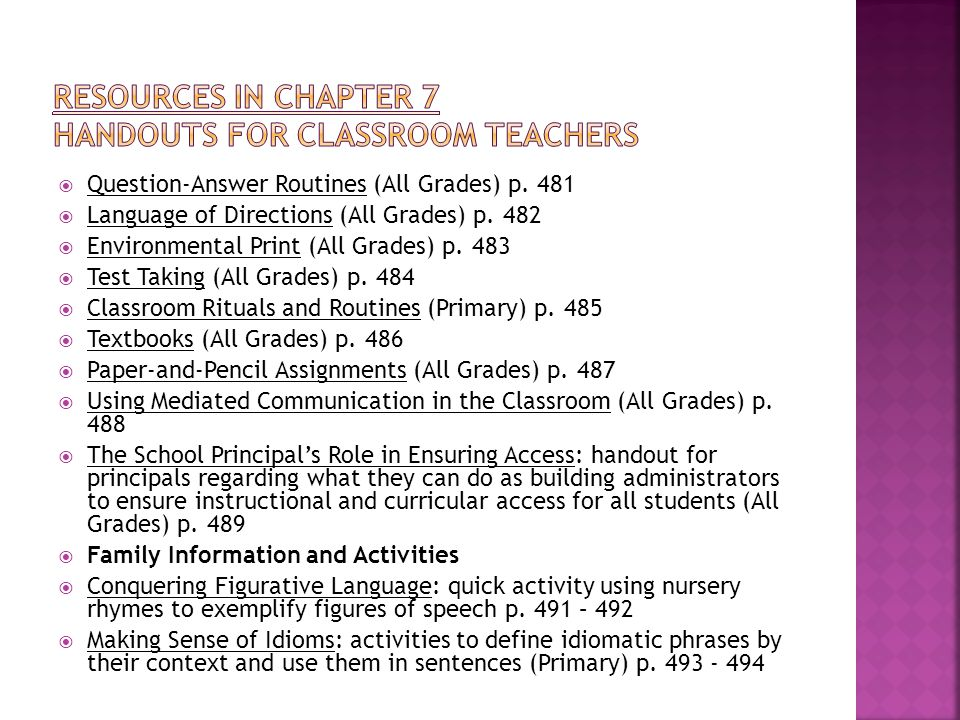  Question-Answer Routines (All Grades) p. 481  Language of Directions (All Grades) p. 482  Environmental Print (All Grades) p. 483  Test Taking (A