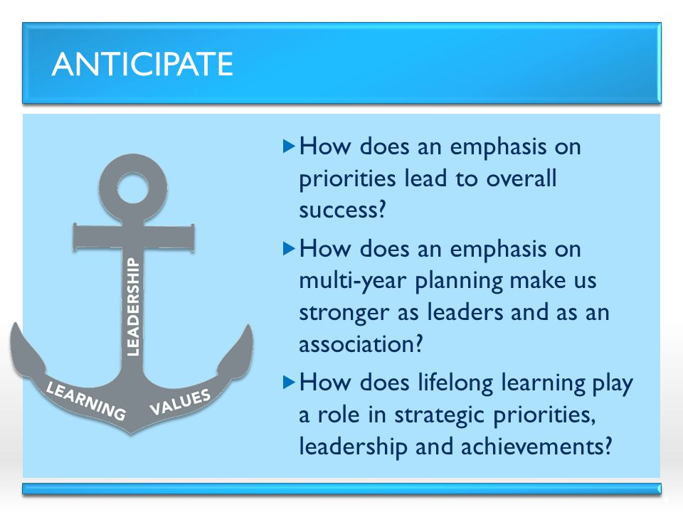 ANTICIPATE  How does an emphasis on priorities lead to overall success.