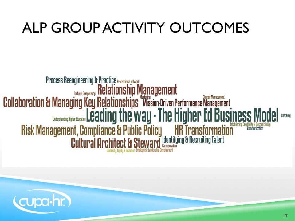 17 ALP GROUP ACTIVITY OUTCOMES