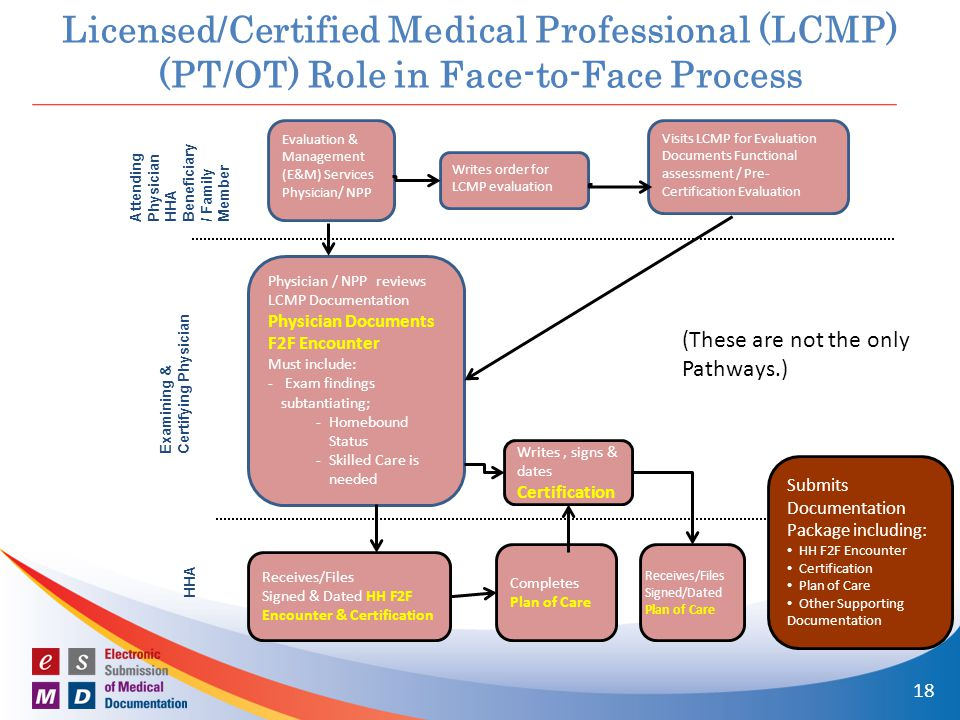 Licensed/Certified Medical Professional (LCMP) (PT/OT) Role in Face-to-Face Process Attending Physician HHA Beneficiary / Family Member Examining & Certifying Physician HHA Evaluation & Management (E&M) Services Physician/ NPP Physician / NPP reviews LCMP Documentation Physician Documents F2F Encounter Must include: - Exam findings subtantiating; -Homebound Status -Skilled Care is needed Writes order for LCMP evaluation Visits LCMP for Evaluation Documents Functional assessment / Pre- Certification Evaluation 18 Writes, signs & dates Certification Receives/Files Signed & Dated HH F2F Encounter & Certification Completes Plan of Care Receives/Files Signed/Dated Plan of Care Submits Documentation Package including: HH F2F Encounter Certification Plan of Care Other Supporting Documentation (These are not the only Pathways.)