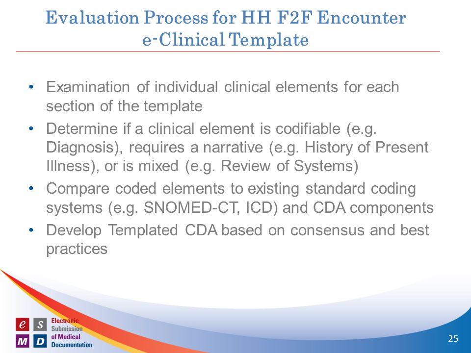 Evaluation Process for HH F2F Encounter e-Clinical Template Examination of individual clinical elements for each section of the template Determine if a clinical element is codifiable (e.g.