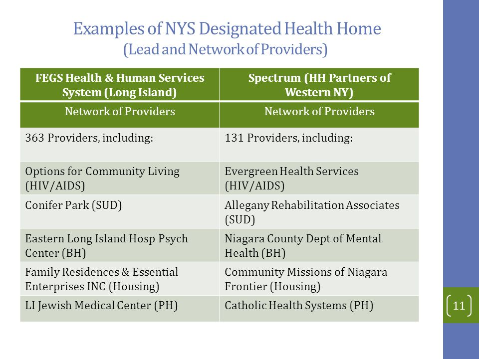 Examples of NYS Designated Health Home (Lead and Network of Providers) FEGS Health & Human Services System (Long Island) Spectrum (HH Partners of Western NY) Network of Providers 363 Providers, including:131 Providers, including: Options for Community Living (HIV/AIDS) Evergreen Health Services (HIV/AIDS) Conifer Park (SUD)Allegany Rehabilitation Associates (SUD) Eastern Long Island Hosp Psych Center (BH) Niagara County Dept of Mental Health (BH) Family Residences & Essential Enterprises INC (Housing) Community Missions of Niagara Frontier (Housing) LI Jewish Medical Center (PH)Catholic Health Systems (PH) 11