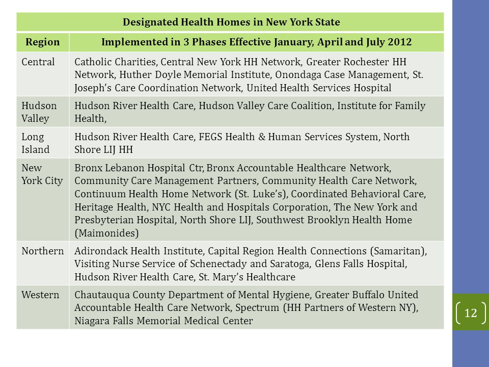 12 Designated Health Homes in New York State RegionImplemented in 3 Phases Effective January, April and July 2012 CentralCatholic Charities, Central New York HH Network, Greater Rochester HH Network, Huther Doyle Memorial Institute, Onondaga Case Management, St.