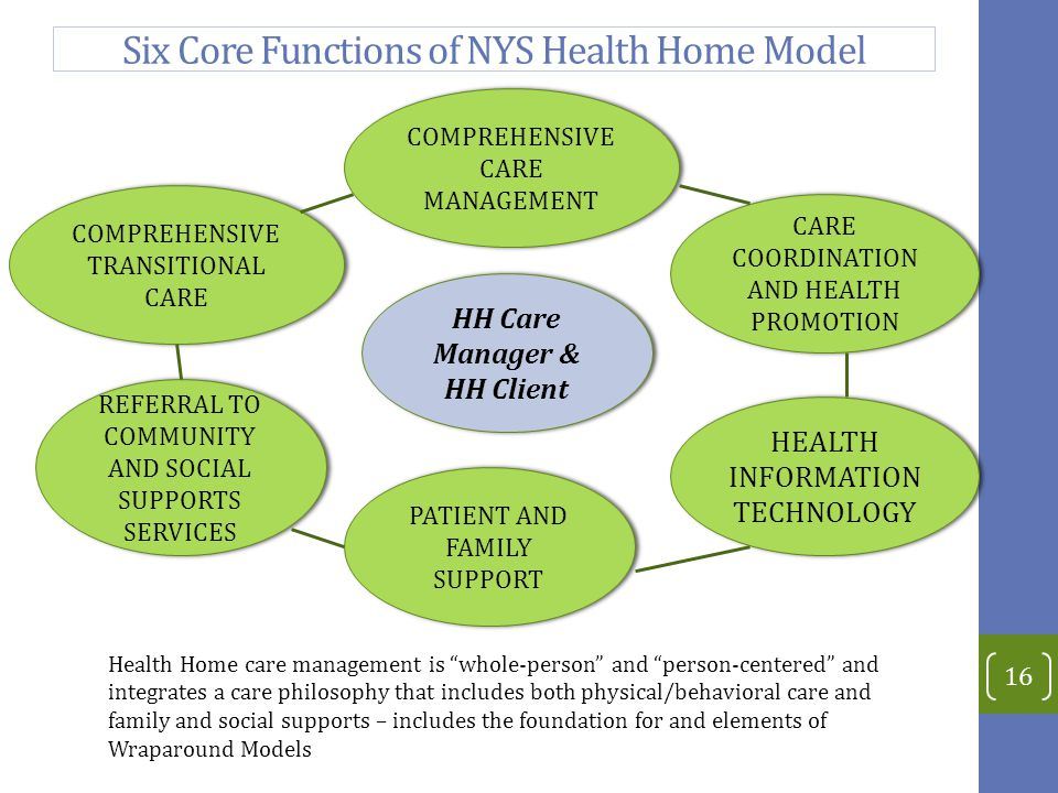Six Core Functions of NYS Health Home Model 16 HEALTH INFORMATION TECHNOLOGY HH Care Manager & HH Client HH Care Manager & HH Client REFERRAL TO COMMUNITY AND SOCIAL SUPPORTS SERVICES COMPREHENSIVE TRANSITIONAL CARE CARE COORDINATION AND HEALTH PROMOTION COMPREHENSIVE CARE MANAGEMENT PATIENT AND FAMILY SUPPORT Health Home care management is whole-person and person-centered and integrates a care philosophy that includes both physical/behavioral care and family and social supports – includes the foundation for and elements of Wraparound Models