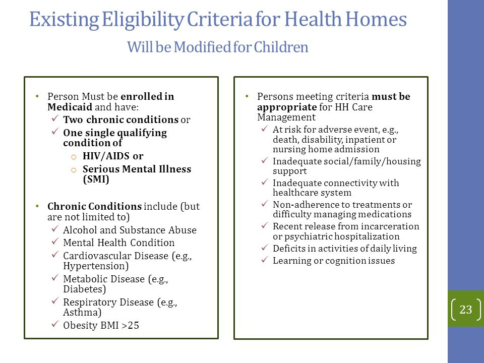 Existing Eligibility Criteria for Health Homes Will be Modified for Children Person Must be enrolled in Medicaid and have: Two chronic conditions or One single qualifying condition of o HIV/AIDS or o Serious Mental Illness (SMI) Chronic Conditions include (but are not limited to) Alcohol and Substance Abuse Mental Health Condition Cardiovascular Disease (e.g., Hypertension) Metabolic Disease (e.g., Diabetes) Respiratory Disease (e.g., Asthma) Obesity BMI >25 Persons meeting criteria must be appropriate for HH Care Management At risk for adverse event, e.g., death, disability, inpatient or nursing home admission Inadequate social/family/housing support Inadequate connectivity with healthcare system Non-adherence to treatments or difficulty managing medications Recent release from incarceration or psychiatric hospitalization Deficits in activities of daily living Learning or cognition issues 23