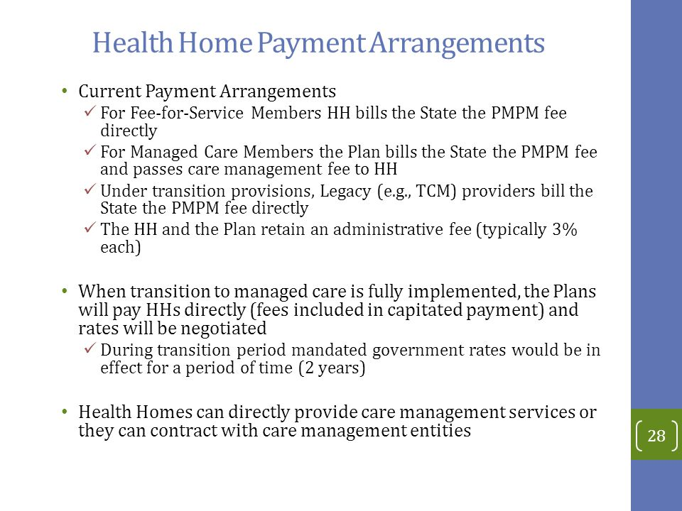 Health Home Payment Arrangements Current Payment Arrangements For Fee-for-Service Members HH bills the State the PMPM fee directly For Managed Care Members the Plan bills the State the PMPM fee and passes care management fee to HH Under transition provisions, Legacy (e.g., TCM) providers bill the State the PMPM fee directly The HH and the Plan retain an administrative fee (typically 3% each) When transition to managed care is fully implemented, the Plans will pay HHs directly (fees included in capitated payment) and rates will be negotiated During transition period mandated government rates would be in effect for a period of time (2 years) Health Homes can directly provide care management services or they can contract with care management entities 28
