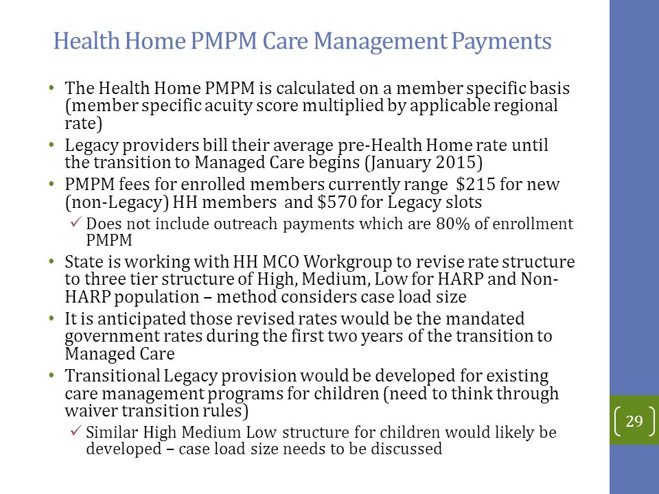Health Home PMPM Care Management Payments The Health Home PMPM is calculated on a member specific basis (member specific acuity score multiplied by applicable regional rate) Legacy providers bill their average pre-Health Home rate until the transition to Managed Care begins (January 2015) PMPM fees for enrolled members currently range $215 for new (non-Legacy) HH members and $570 for Legacy slots Does not include outreach payments which are 80% of enrollment PMPM State is working with HH MCO Workgroup to revise rate structure to three tier structure of High, Medium, Low for HARP and Non- HARP population – method considers case load size It is anticipated those revised rates would be the mandated government rates during the first two years of the transition to Managed Care Transitional Legacy provision would be developed for existing care management programs for children (need to think through waiver transition rules) Similar High Medium Low structure for children would likely be developed – case load size needs to be discussed 29