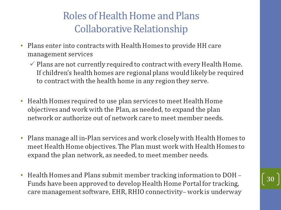 Roles of Health Home and Plans Collaborative Relationship Plans enter into contracts with Health Homes to provide HH care management services Plans are not currently required to contract with every Health Home.