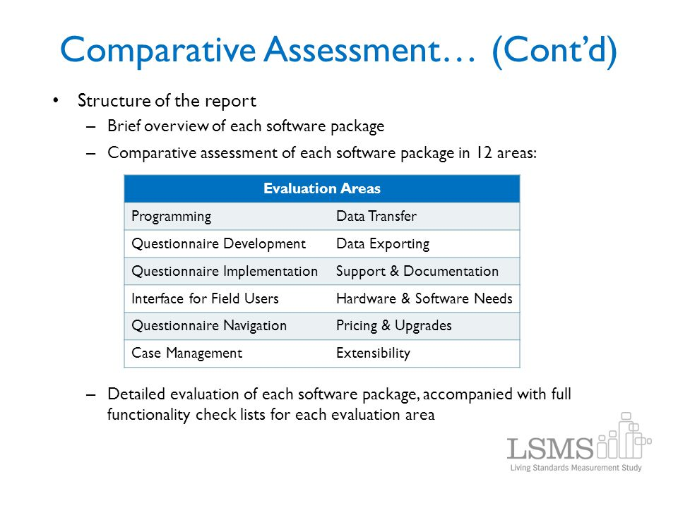 Structure of the report – Brief overview of each software package – Comparative assessment of each software package in 12 areas: – Detailed evaluation