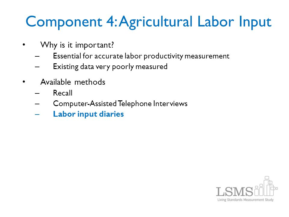 Component 4: Agricultural Labor Input Why is it important? – Essential for accurate labor productivity measurement – Existing data very poorly measure