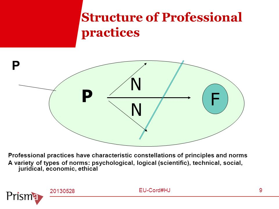 Structure of Professional practices P Professional practices have characteristic constellations of principles and norms A variety of types of norms: psychological, logical (scientific), technical, social, juridical, economic, ethical F P N N 20130528 EU-Cord#HJ9