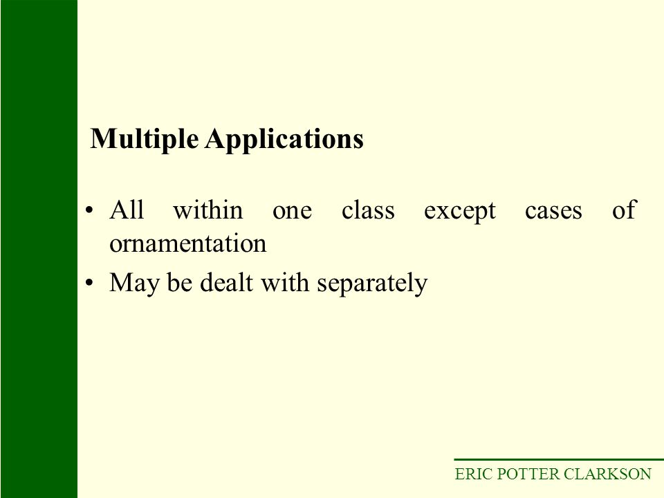 ERIC POTTER CLARKSON All within one class except cases of ornamentation May be dealt with separately Multiple Applications