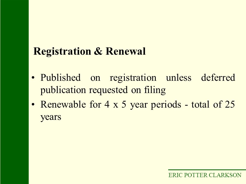 ERIC POTTER CLARKSON Published on registration unless deferred publication requested on filing Renewable for 4 x 5 year periods - total of 25 years Re