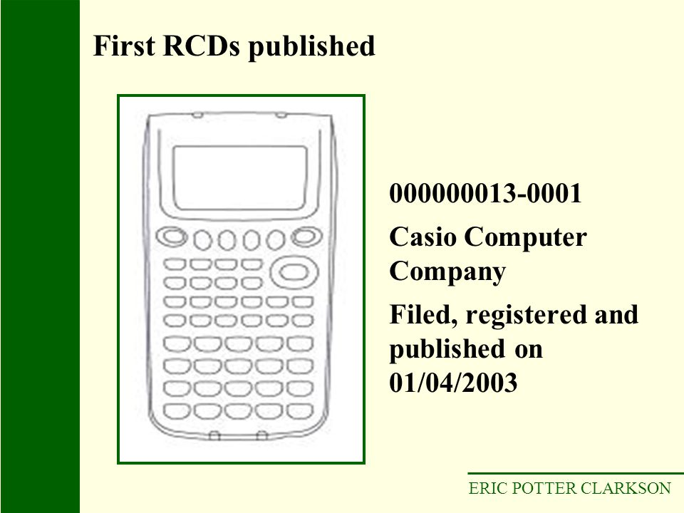 ERIC POTTER CLARKSON 000000013-0001 Casio Computer Company Filed, registered and published on 01/04/2003 First RCDs published