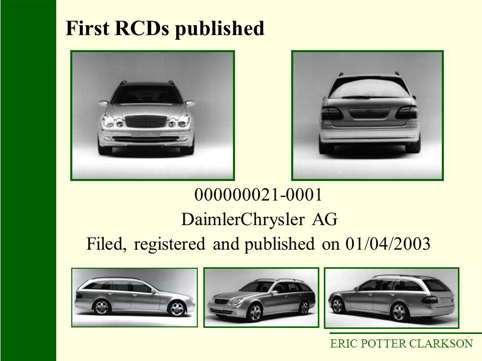 ERIC POTTER CLARKSON 000000021-0001 DaimlerChrysler AG Filed, registered and published on 01/04/2003 First RCDs published