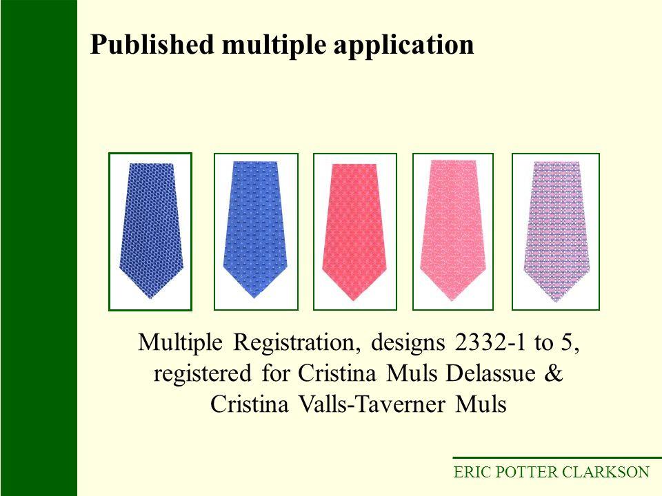 ERIC POTTER CLARKSON Multiple Registration, designs 2332-1 to 5, registered for Cristina Muls Delassue & Cristina Valls-Taverner Muls Published multip