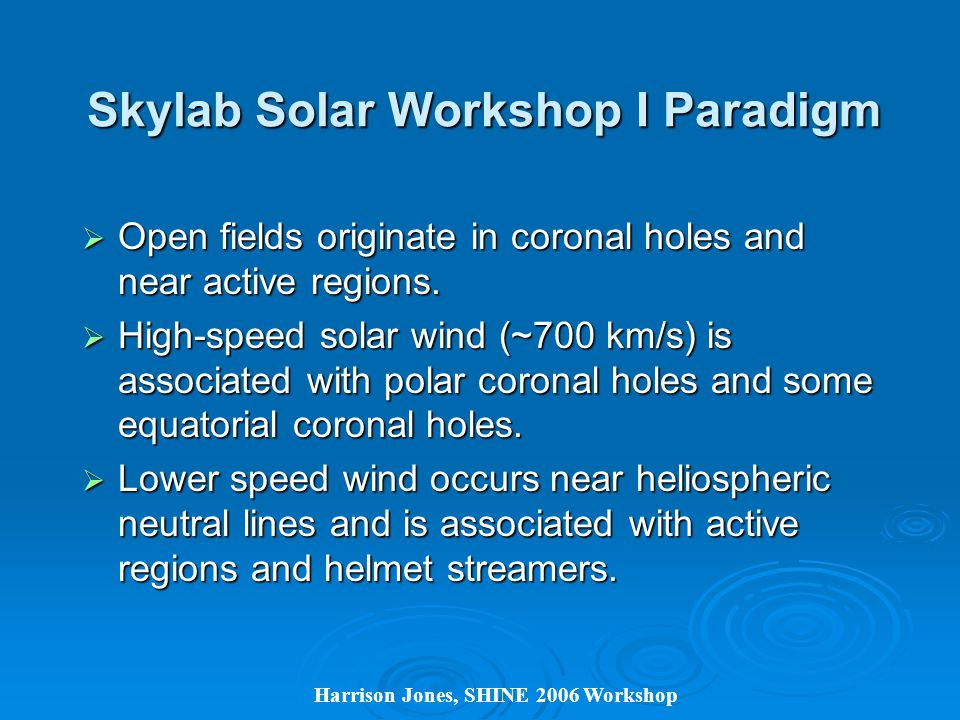 Harrison Jones, SHINE 2006 Workshop Skylab Solar Workshop I Paradigm  Open fields originate in coronal holes and near active regions.