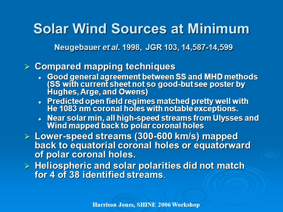 Harrison Jones, SHINE 2006 Workshop Solar Wind Sources at Minimum Neugebauer et al.