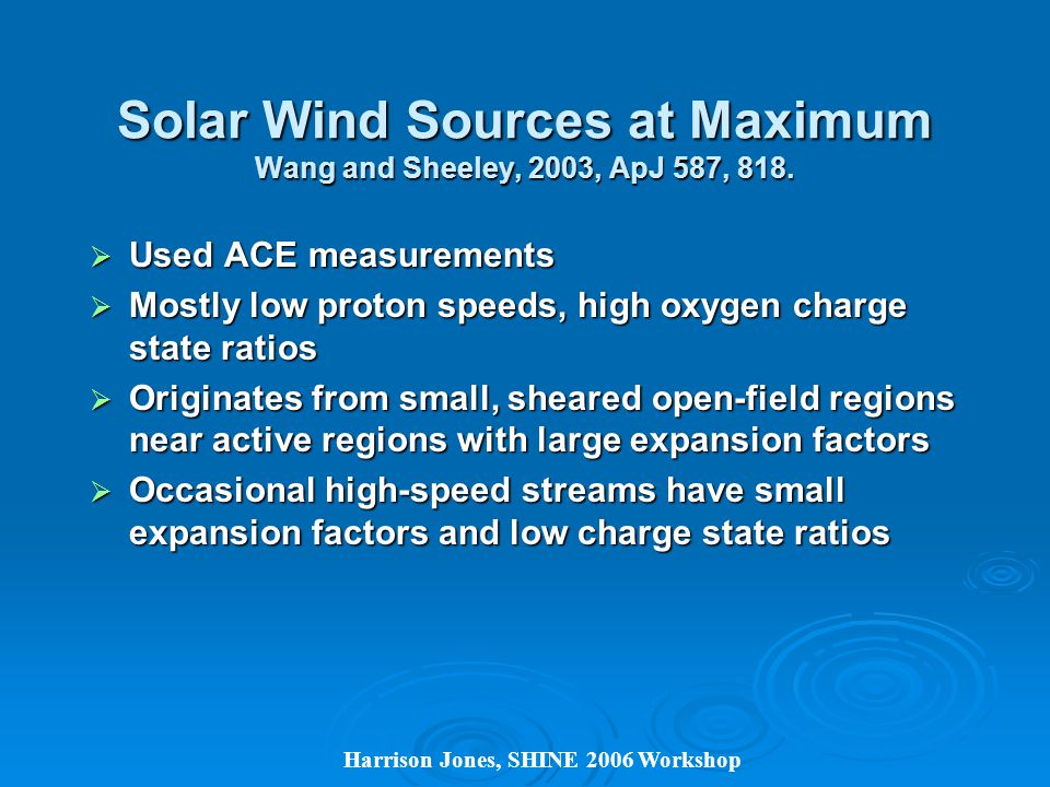 Solar Wind Sources at Maximum Wang and Sheeley, 2003, ApJ 587, 818.