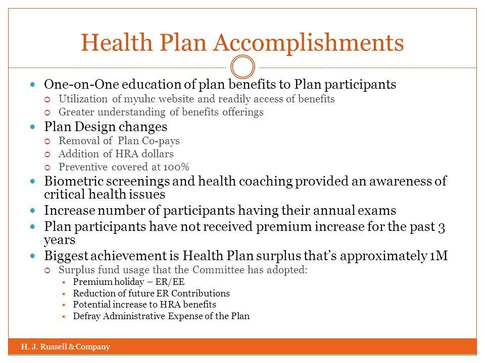 Health Plan Accomplishments H. J.