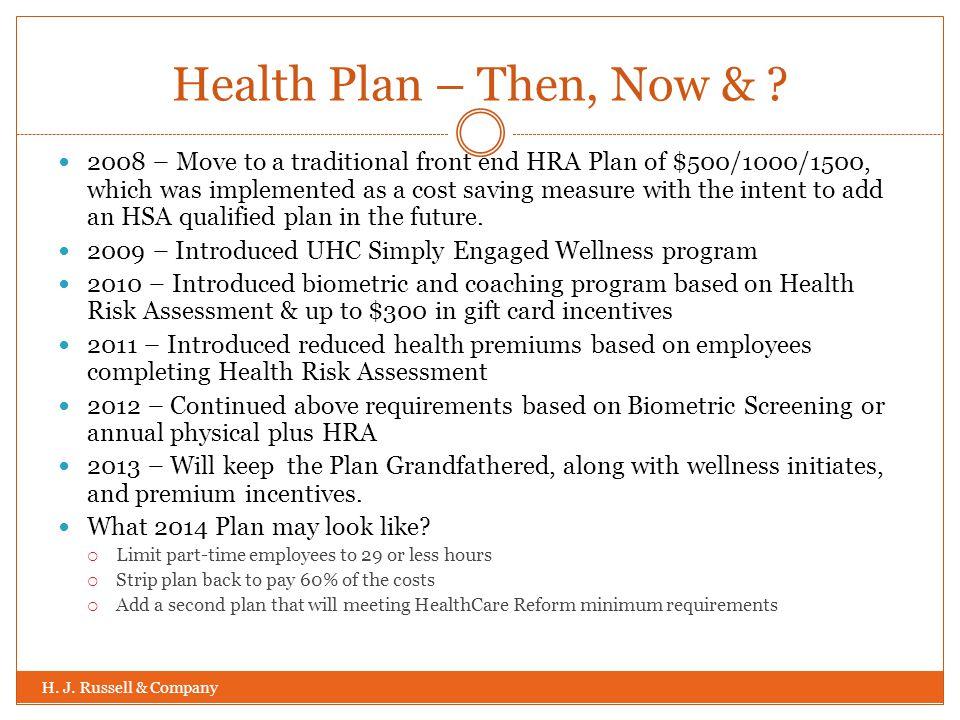 Health Plan – Then, Now & . H. J.