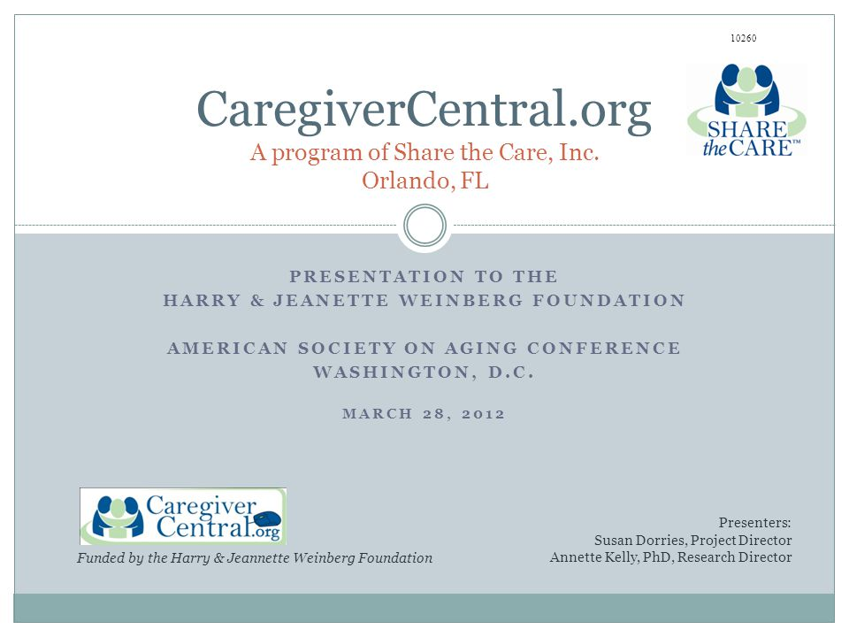 PRESENTATION TO THE HARRY & JEANETTE WEINBERG FOUNDATION AMERICAN SOCIETY ON AGING CONFERENCE WASHINGTON, D.C.