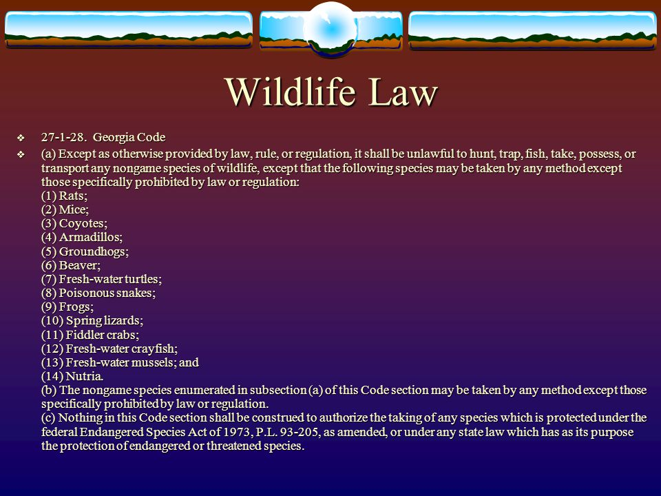 Wildlife Law  27-1-28. Georgia Code  (a) Except as otherwise provided by law, rule, or regulation, it shall be unlawful to hunt, trap, fish, take, p