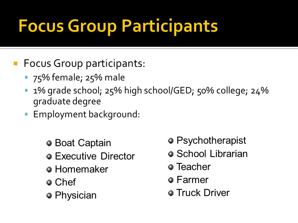  Focus Group participants:  75% female; 25% male  1% grade school; 25% high school/GED; 50% college; 24% graduate degree  Employment background: Boat Captain Executive Director Homemaker Chef Physician Psychotherapist School Librarian Teacher Farmer Truck Driver