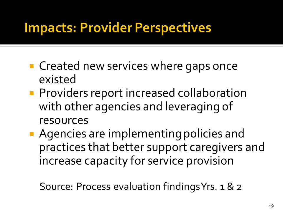  Created new services where gaps once existed  Providers report increased collaboration with other agencies and leveraging of resources  Agencies are implementing policies and practices that better support caregivers and increase capacity for service provision Source: Process evaluation findings Yrs.
